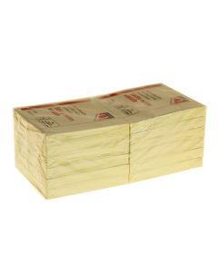 Memoblok 75 x 75mm geel 12 stuks
